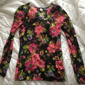 Black Blouse with Colorful Floral Lace Pattern